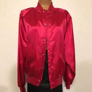 Satin Bomber Womens Fuchsia Sz L Ladies Jacket